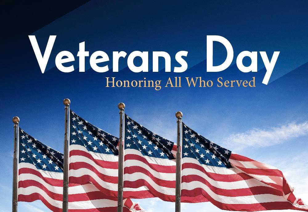 in observance of Veteran's Day.